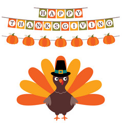 thanksgiving card with a banner and a turkey vector image