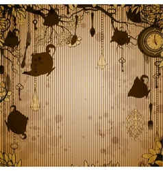 Abstract bronze background with tea party theme vector image vector image