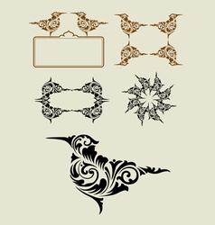 Bird floral ornament decoration vector image vector image