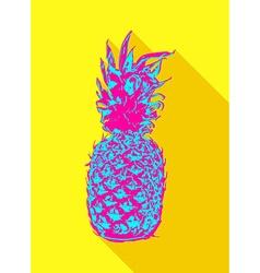 Colorful pop art pineapple fruit design vector image vector image