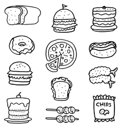 Doodle of food with hand draw vector image