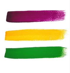 Mardi Gras watercolor brush strokes vector image vector image