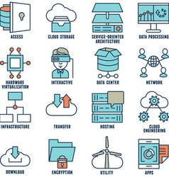 Set of flat linear cloud computing icons - part 2 vector image
