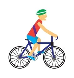 Biker with Bicycle in Flat Design vector image vector image