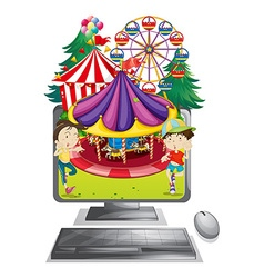 Computer screen with children at carnival vector image