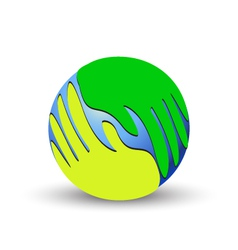 Green hands over the world vector image vector image