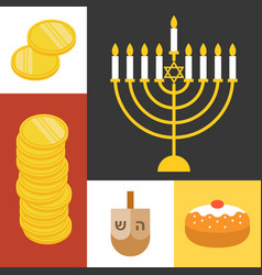 hanukkah icons set flat design vector image vector image