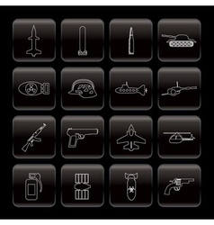 line weapon and war icons vector image