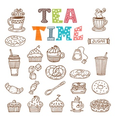 Tea time Hand drawn tea and desserts vector image