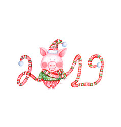 2019 happy new year and christmas vector image