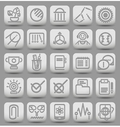 25 school and college buttons with icons vector