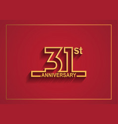 31 anniversary design with simple line style vector