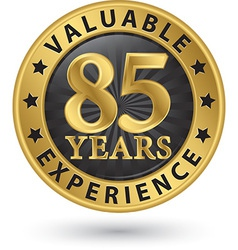 85 years valuable experience gold label vector