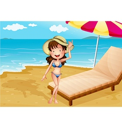 A relaxing bed at the beach with girl vector
