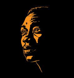 African man portrait silhouette vector