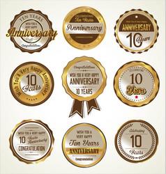 Anniversary golden labels 10 years vector