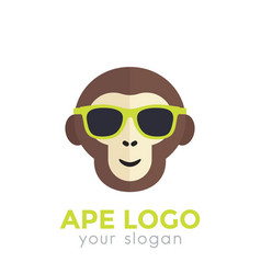 Ape monkey in sunglasses logo template vector