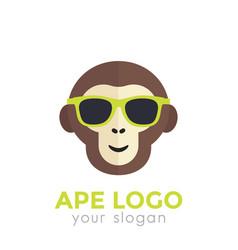 ape monkey in sunglasses logo template vector image