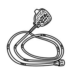 Aqua paw pet bathing tool icon doodle hand drawn vector