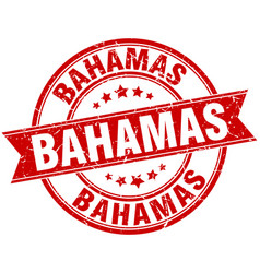 Bahamas red round grunge vintage ribbon stamp vector