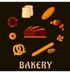 Bakery flat icons with breads and pastry vector image