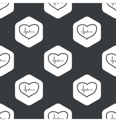 Black hexagon cardiology pattern vector image