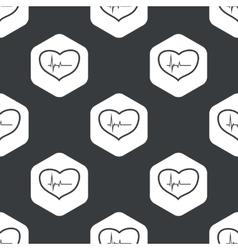 Black hexagon cardiology pattern vector image