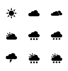 black weather icon set vector image