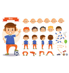 Boy playing sports and toys cartoon kid vector