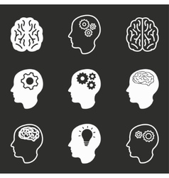 Brain icon set vector image