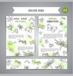 Bugs insects hand drawn banner pest control vector