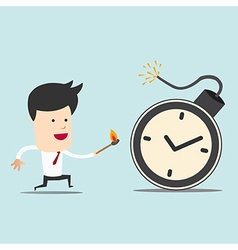 Business man and spark time bomb vector image