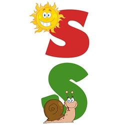 Cartoon snail and sun vector