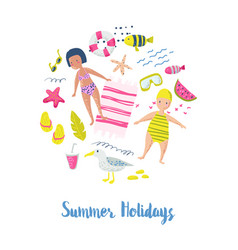 Childish summer beach vacation card with kids vector