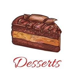 Chocolate cupcake sketch icon Patisserie emblem vector
