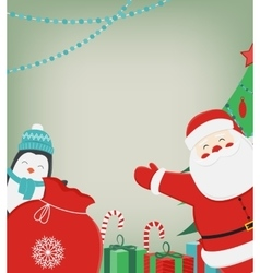 Christmas composition with Santa Claus and Penguin vector image