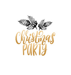 Christmas party lettering with hand drawn vector