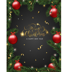 christmas pine tree and red ornaments card vector image