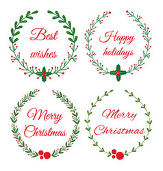 christmas wreath frames vector image
