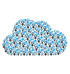 Cloud shape of heterosexual symbol icons vector