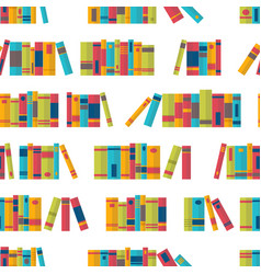 Colorful seamless pattern with books on vector