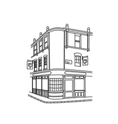 continuous line hand drawing of a street corner wi vector image
