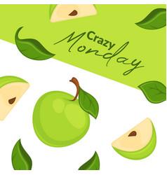 Crazy monday ripe apples in shop advertisement vector