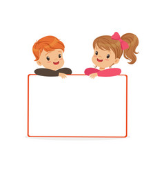 Cute boy and girl characters with white empty vector