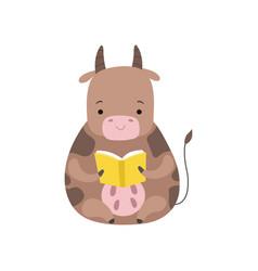 cute cow reading book adorable smart animal vector image