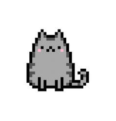 cute kitten domestic pet pixel art - isolated vector image