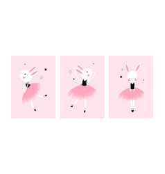 Cute posters with little ballet rabbits vector