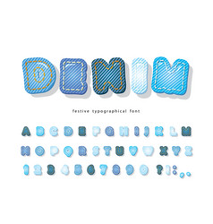 denim modern font jeans texture decorative vector image