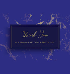 Design of thank you card template marble texture vector