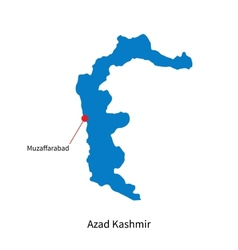 Detailed map of Azad Kashmir and capital city vector